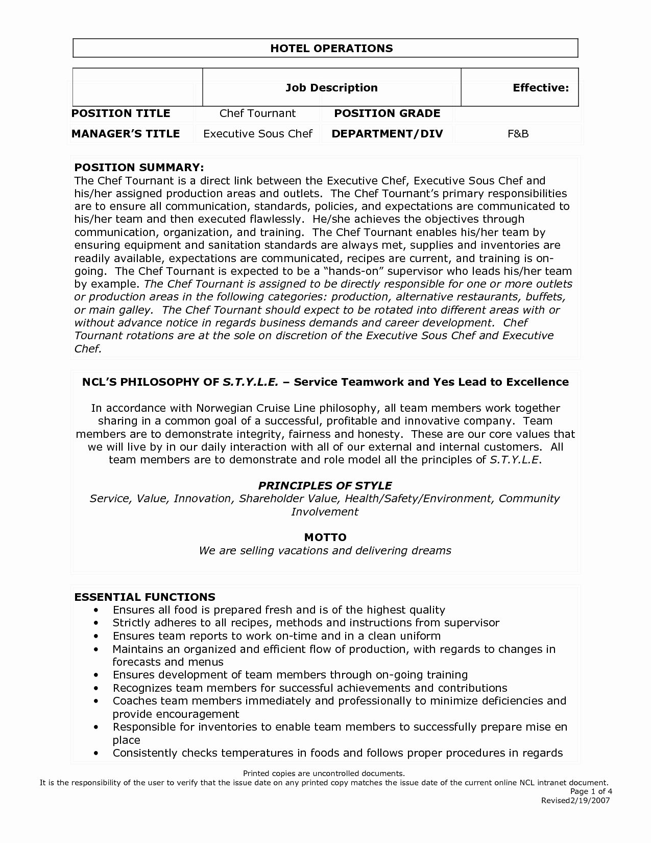 Restaurant Manager Job Description Resume