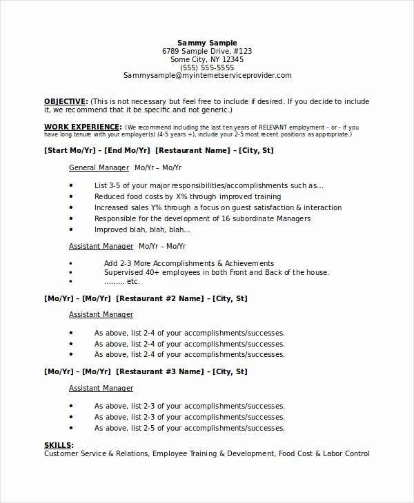 Restaurant Manager Resume Samples Pdf