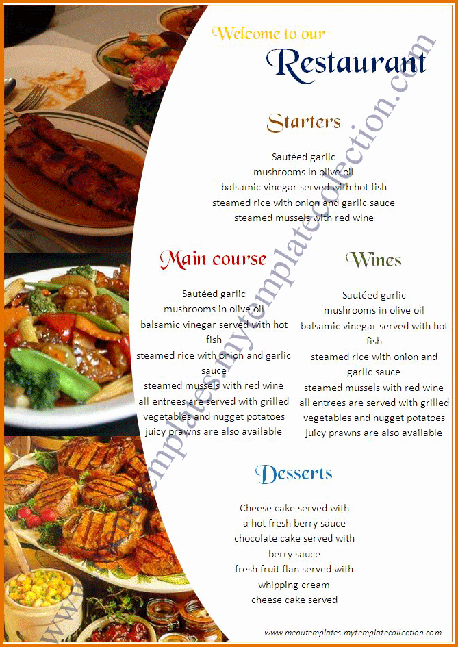 Restaurant Menu Templates Freereference Letters Words