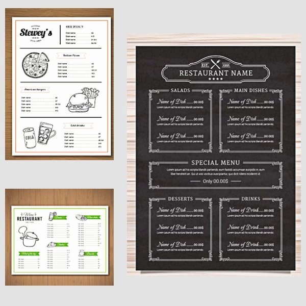 Restaurant Menu Vector Templates