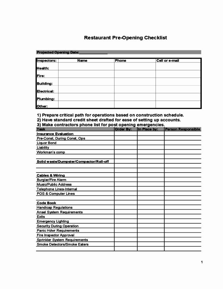 Restaurant Pre Opening Checklist Free Download
