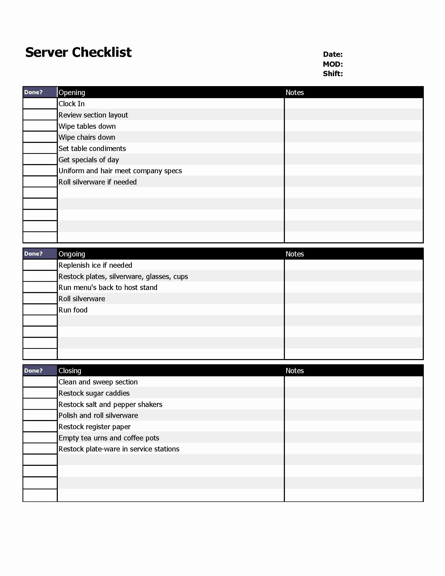 Restaurant Server Checklist form