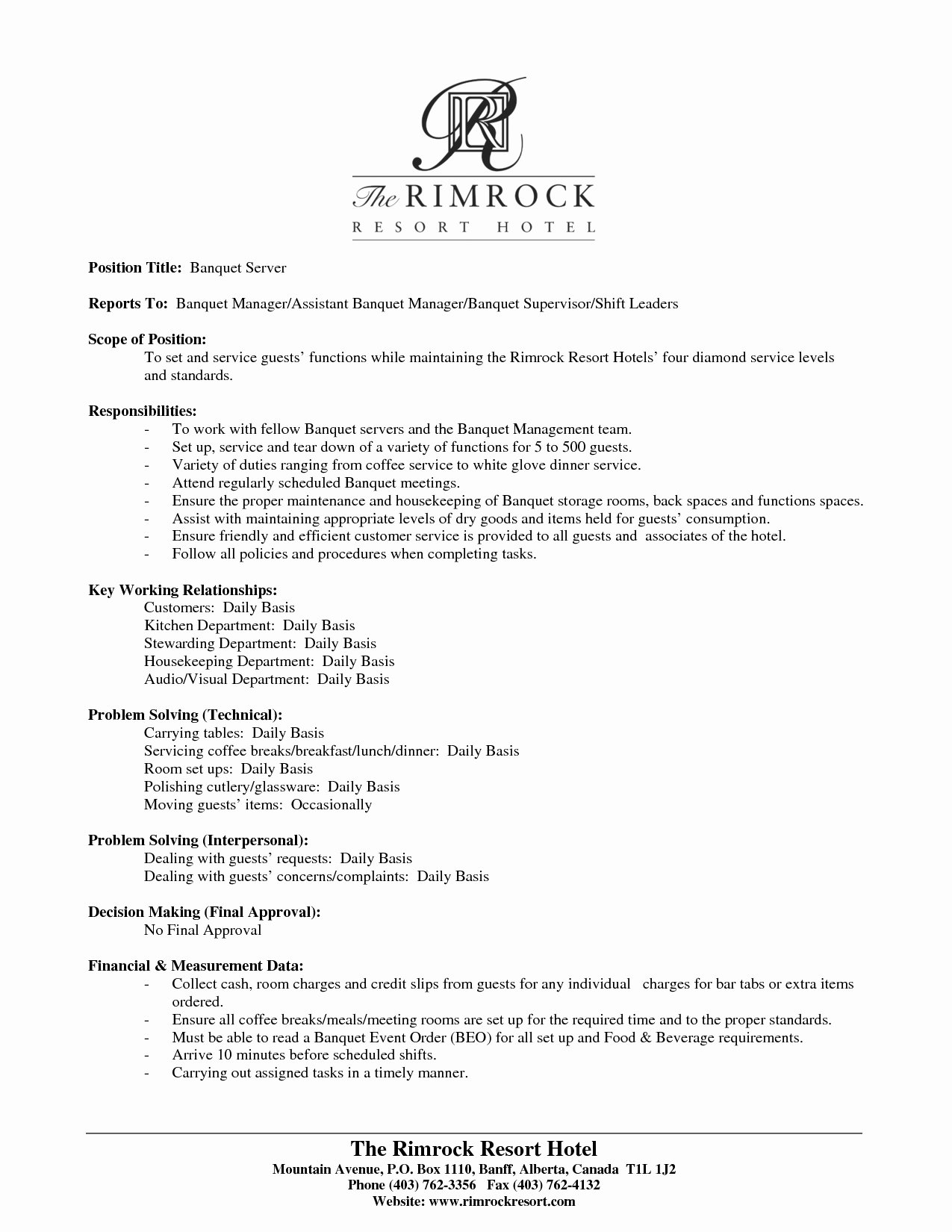 Restaurant Server Resume Template Food Skills Fast Manager