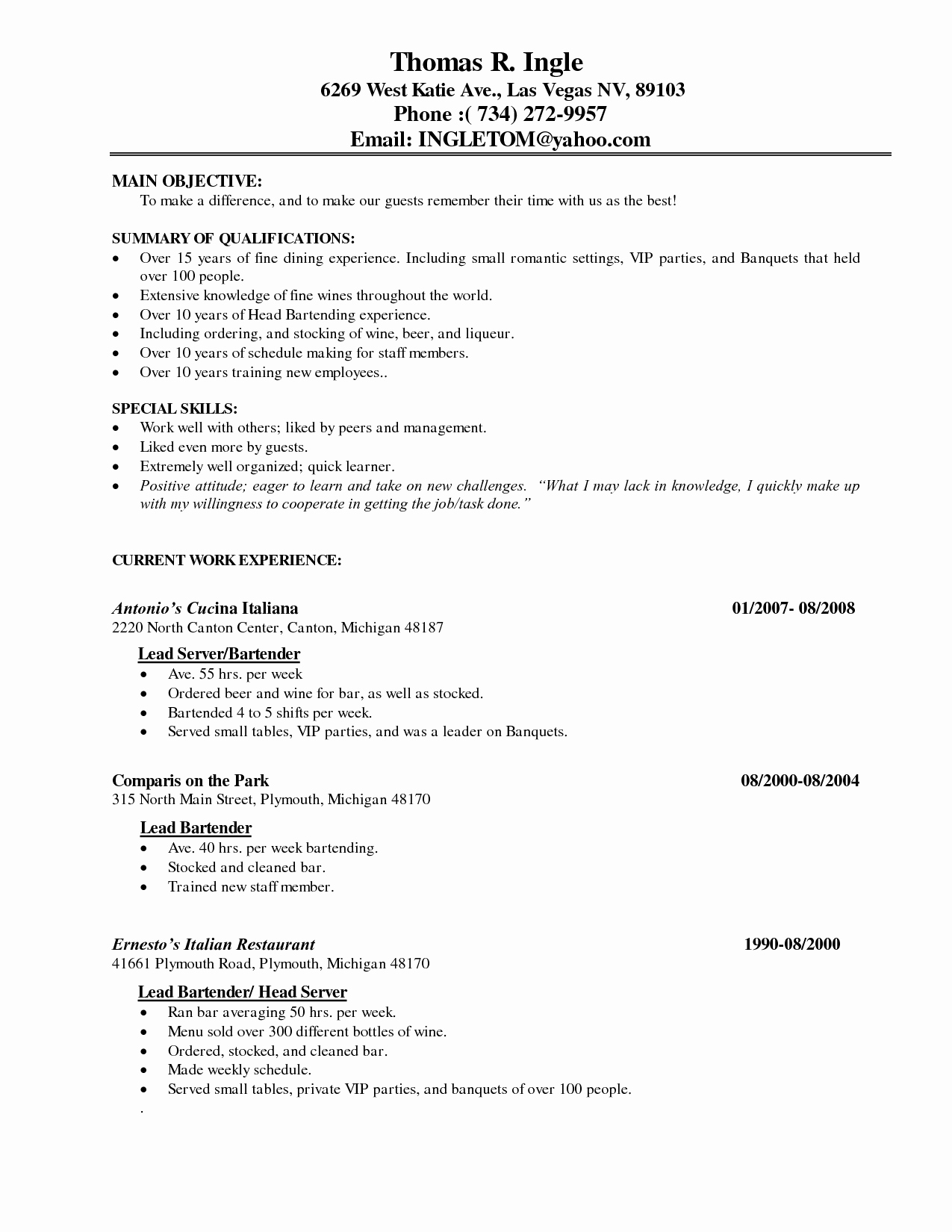 Restaurant Server Resume Samples Latter Example Template