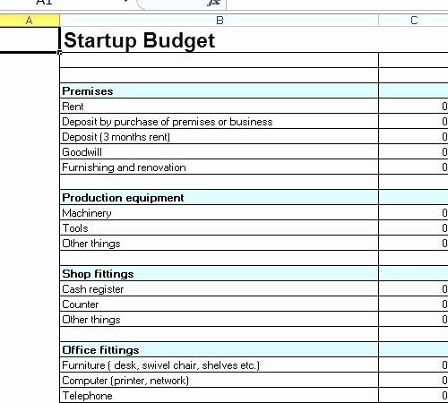 Restaurant Startup Costs Spreadsheet Franchise Start Up