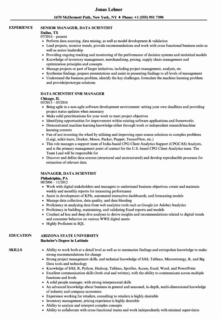 Resume and Template Data Scientist Resume Sample Data
