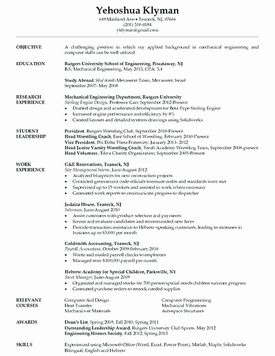 Resume Awards Examples