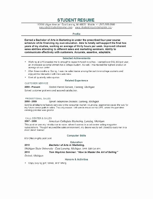 Resume Builder College Student Internship Maker for