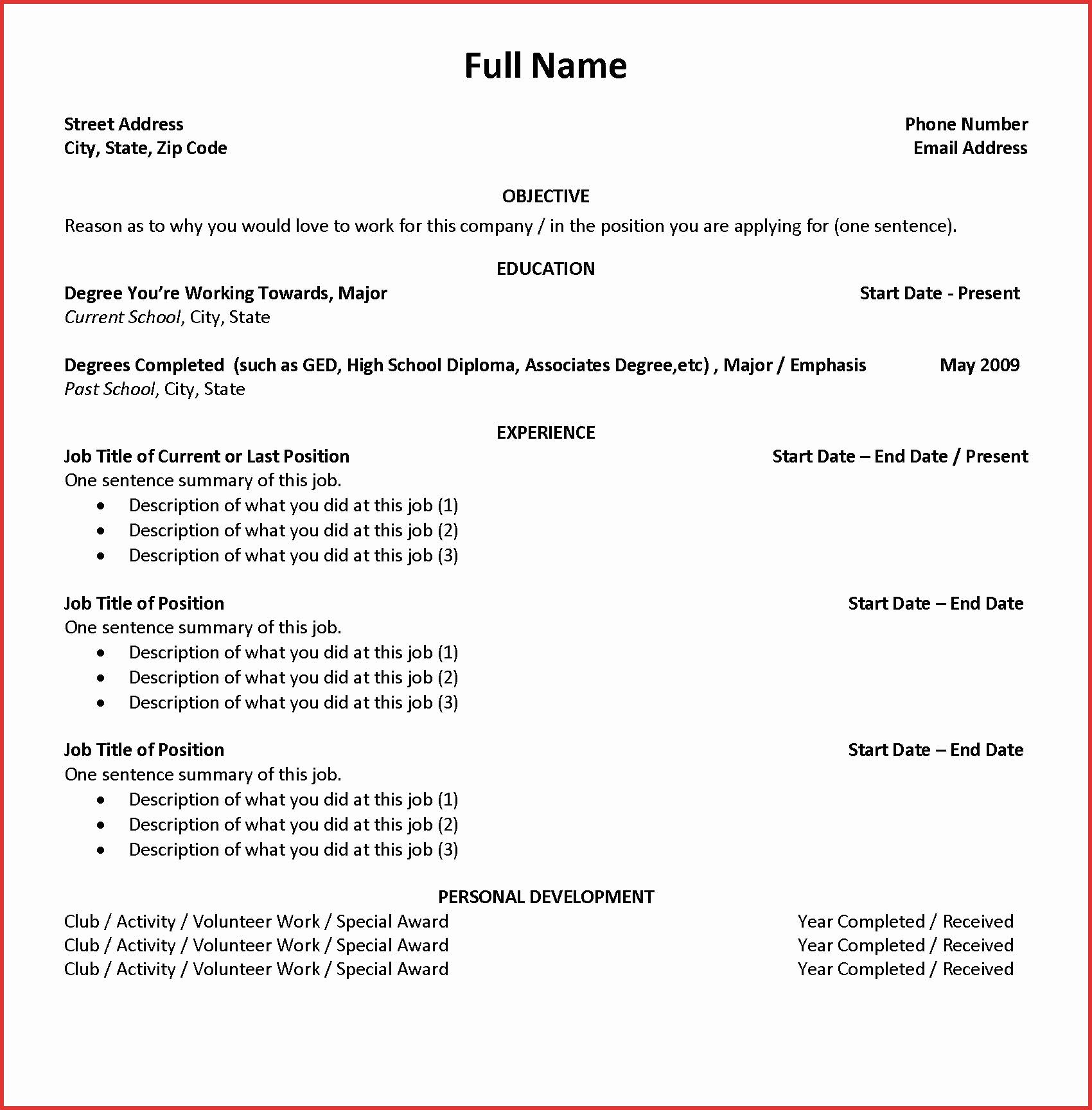 Resume Builder College Student