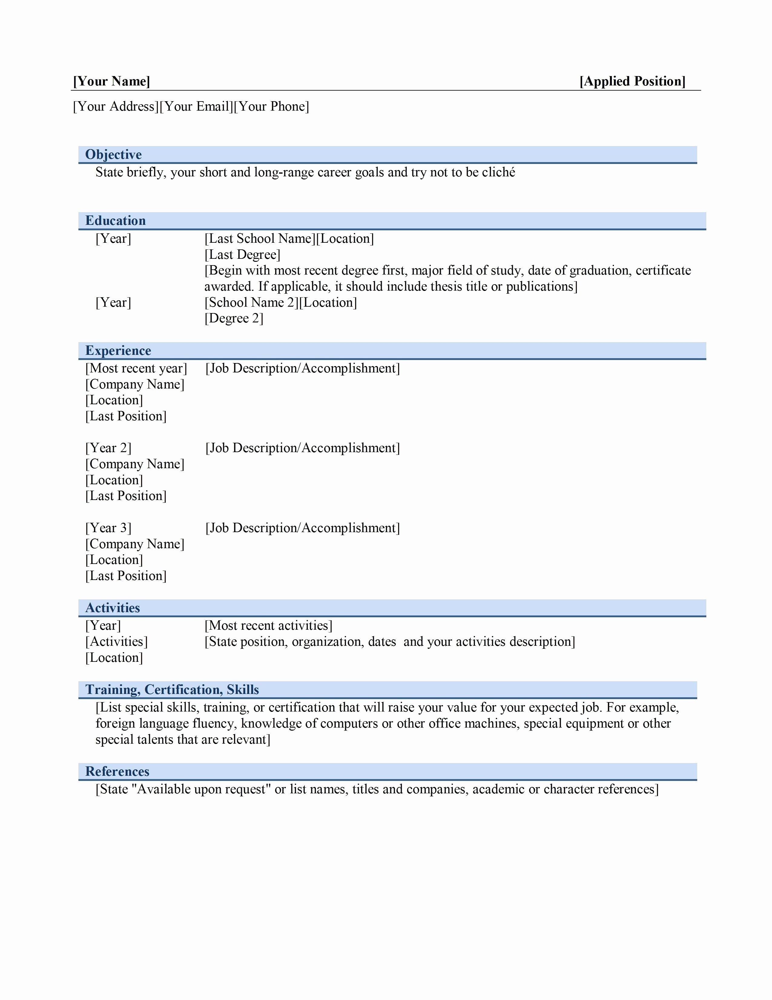 Resume Builder Free Download