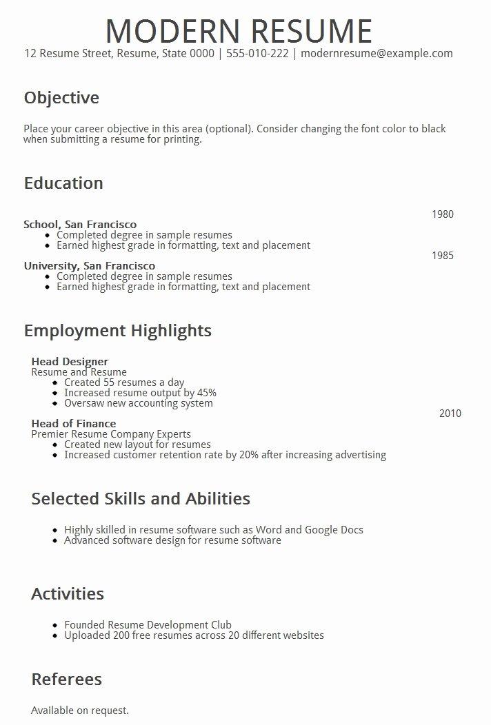 Resume Builder Modern