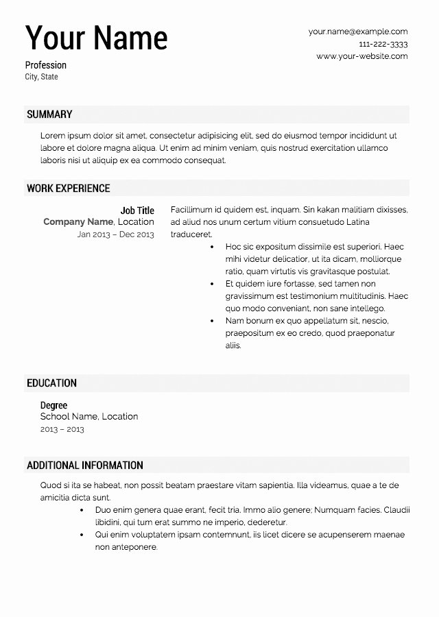 Resume Builder Template 2017
