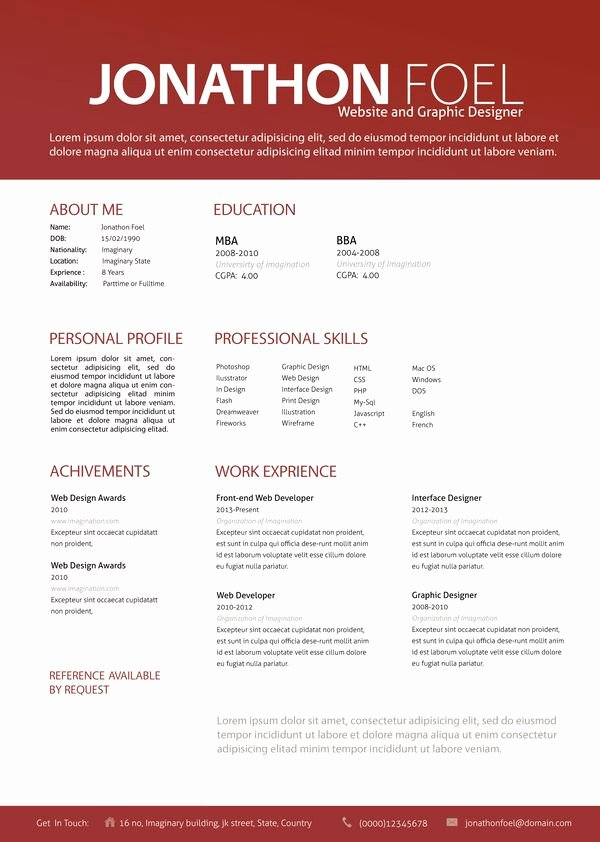 Resume by Simanto Via Behance