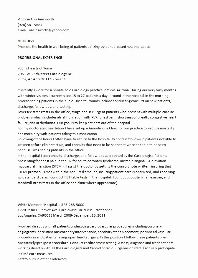 Resume Cardiology Nurse Practitioner