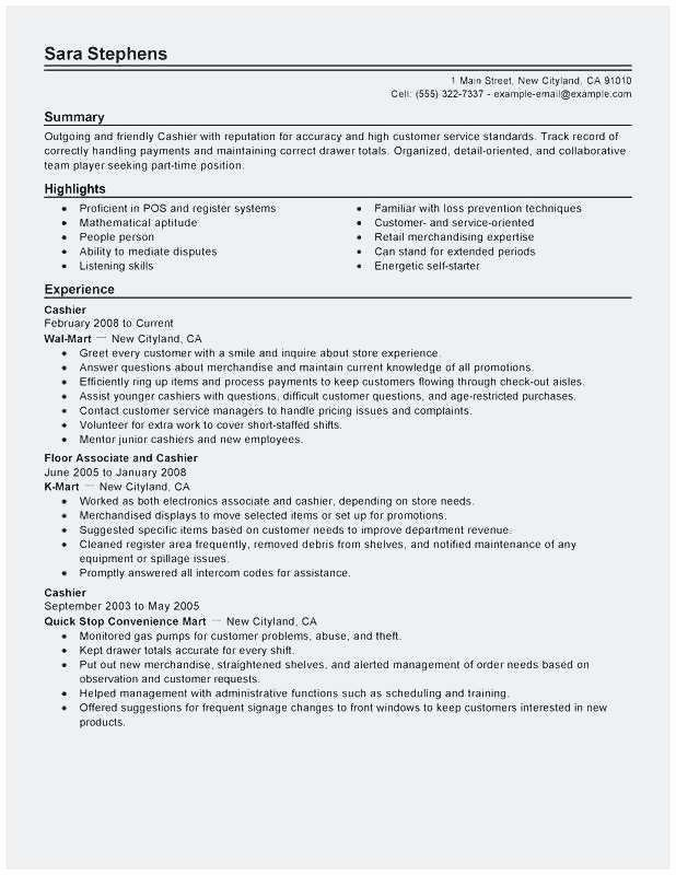 Resume Cashier Resume Summary Verification Employment
