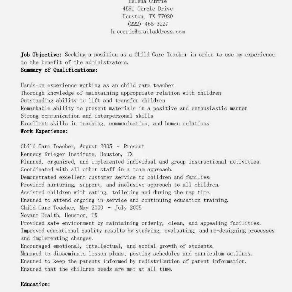 Resume Child Care Job Description Resume