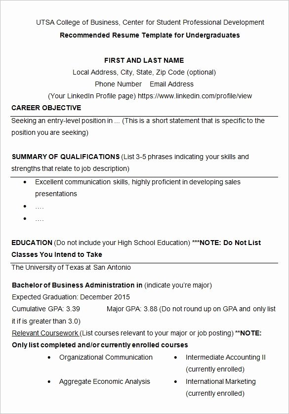 Resume College Student Template Best Resume Collection