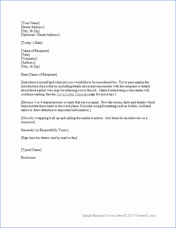 Resume Cover Letter Template for Word