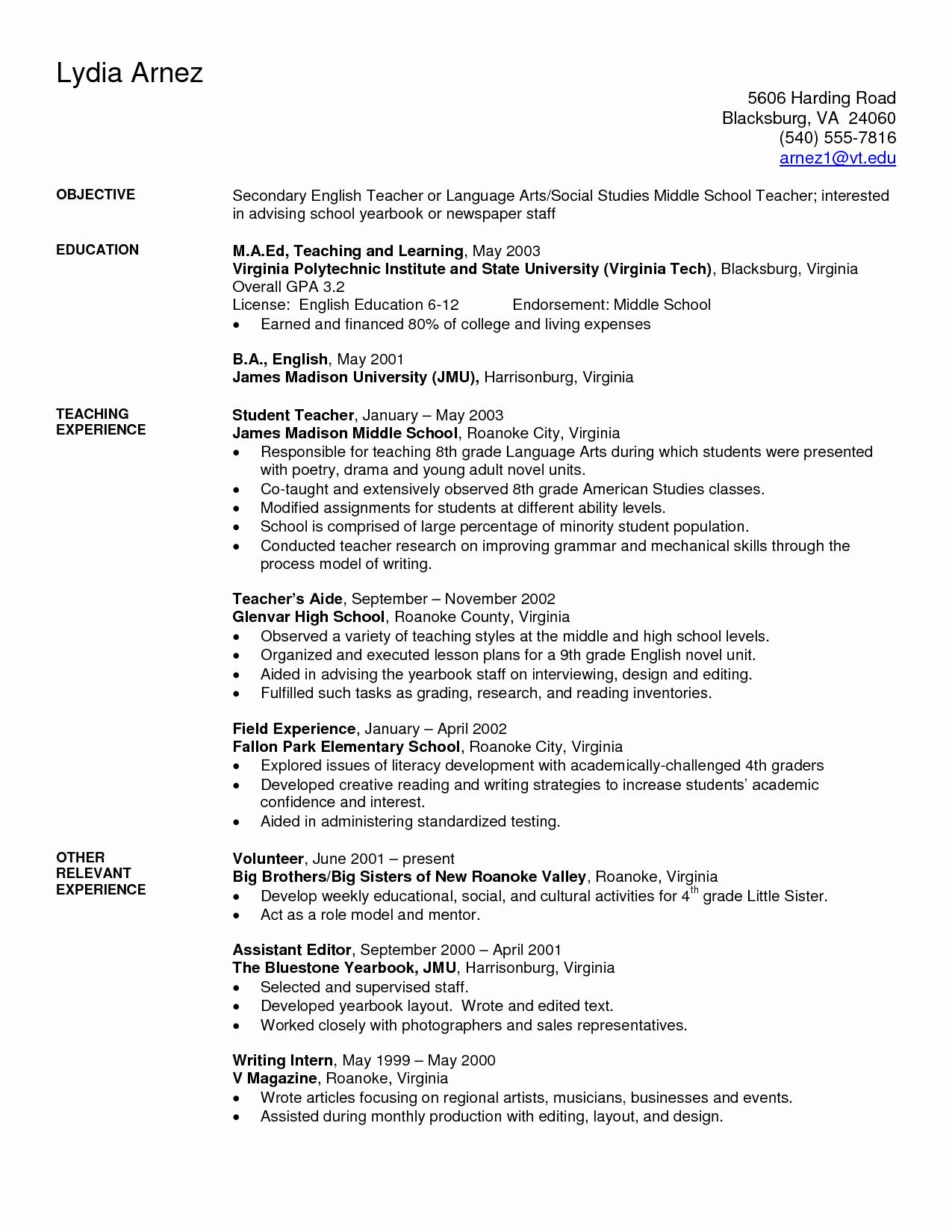 Resume Cover Letter Virginia Tech