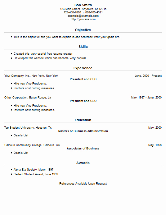 Resume Creator Free English Cv