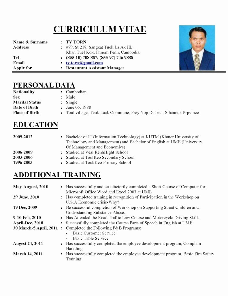 Resume Curriculum Vitae Template Free Resume Templates