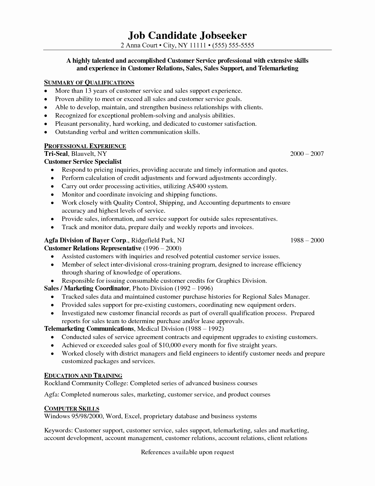 Resume Customer Services Representative Service Skills