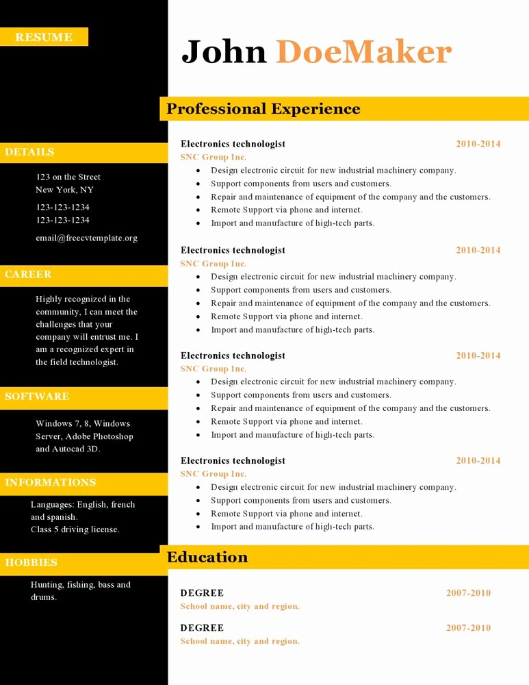Resume Cv Templates 434 to 440 – Free Cv Template Dot org