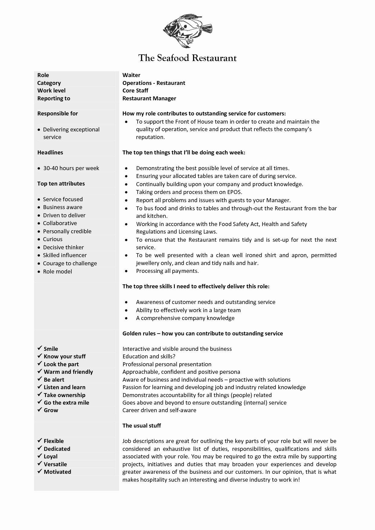 Resume Description Bartender Duties for Resume