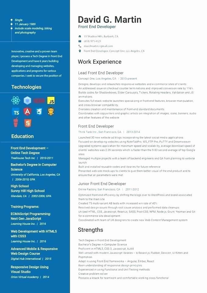 Resume Du Developpeur Web Full Stack Developer Curriculum