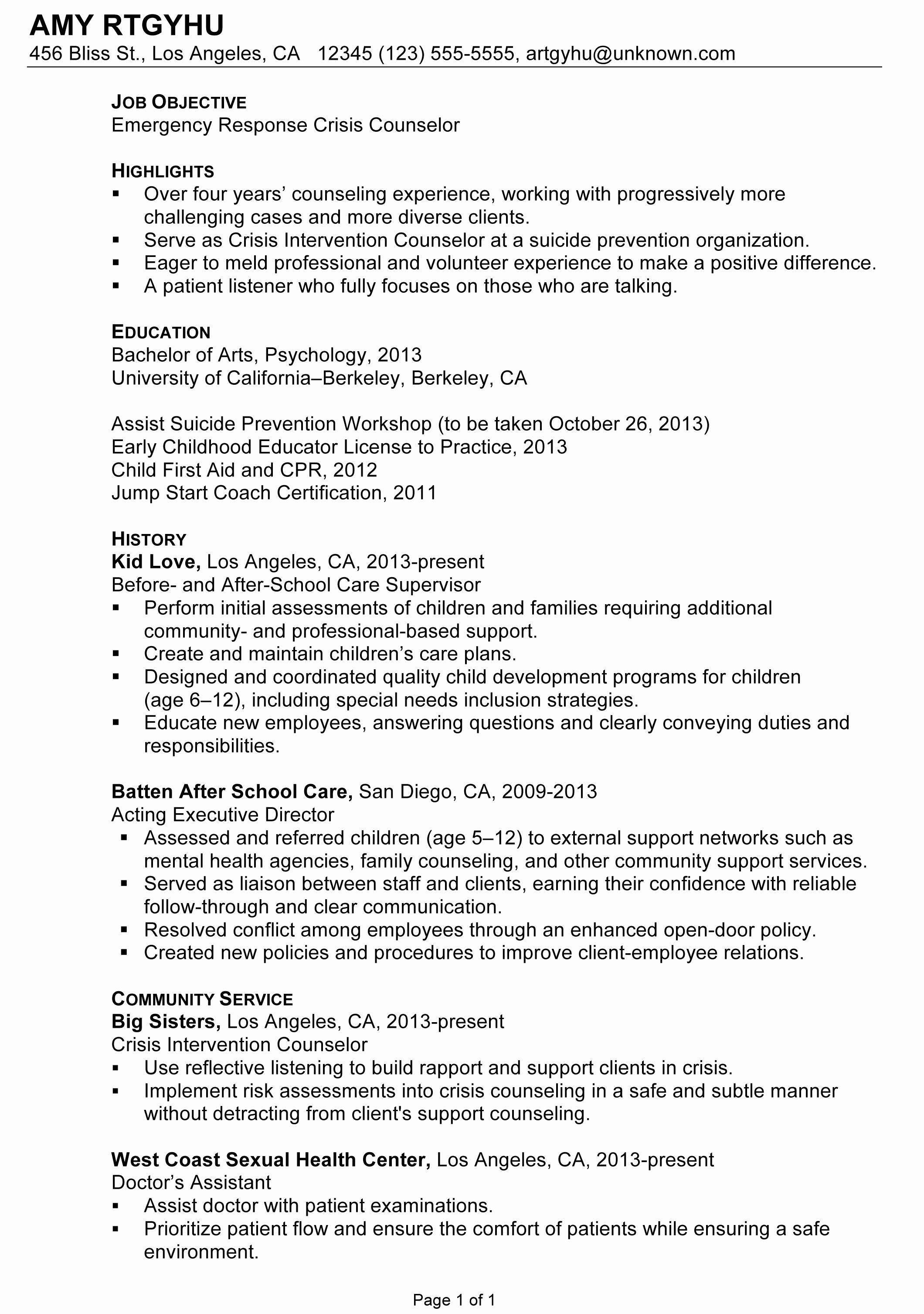 Resume Emergency Response Crisis Counselor Susan
