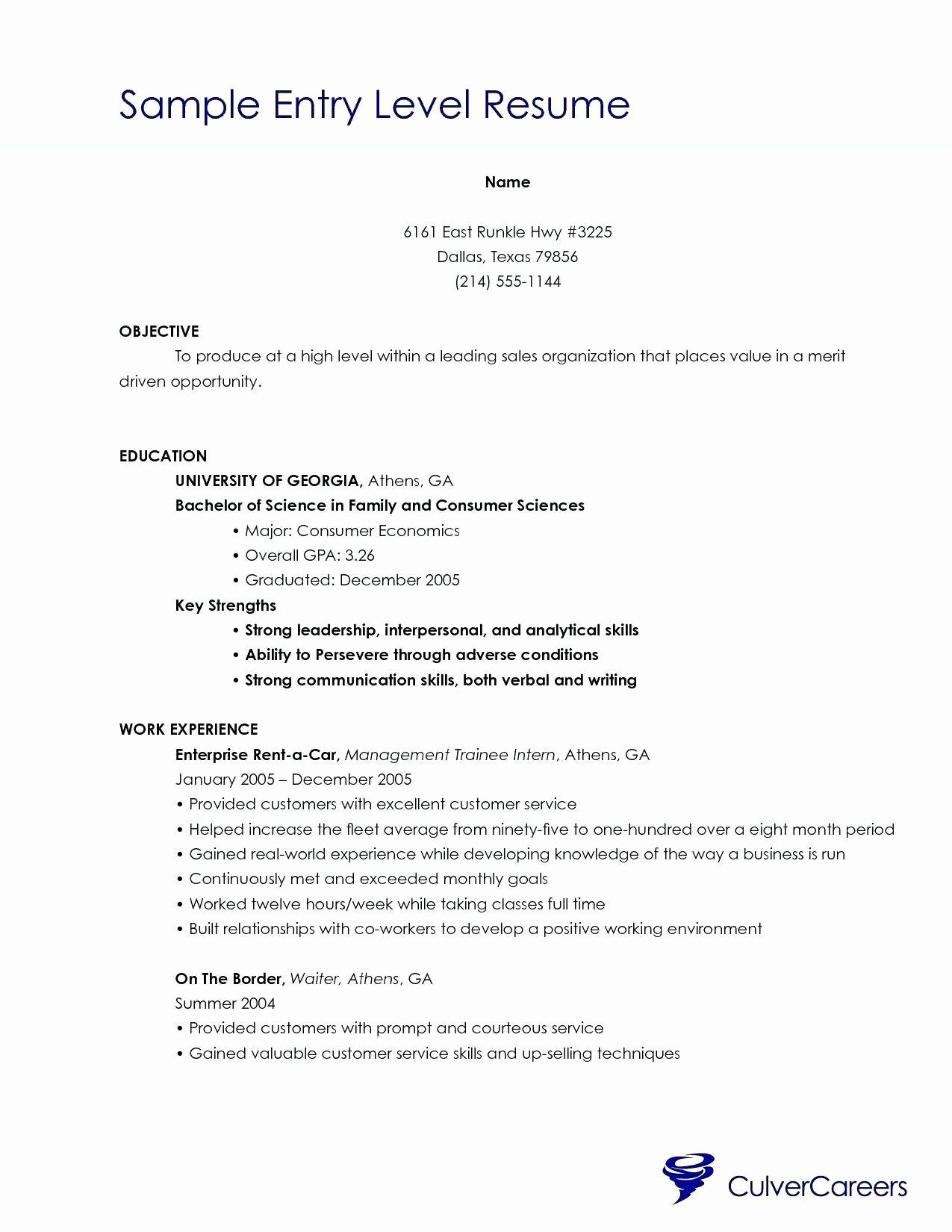 Resume Entry Level Resume