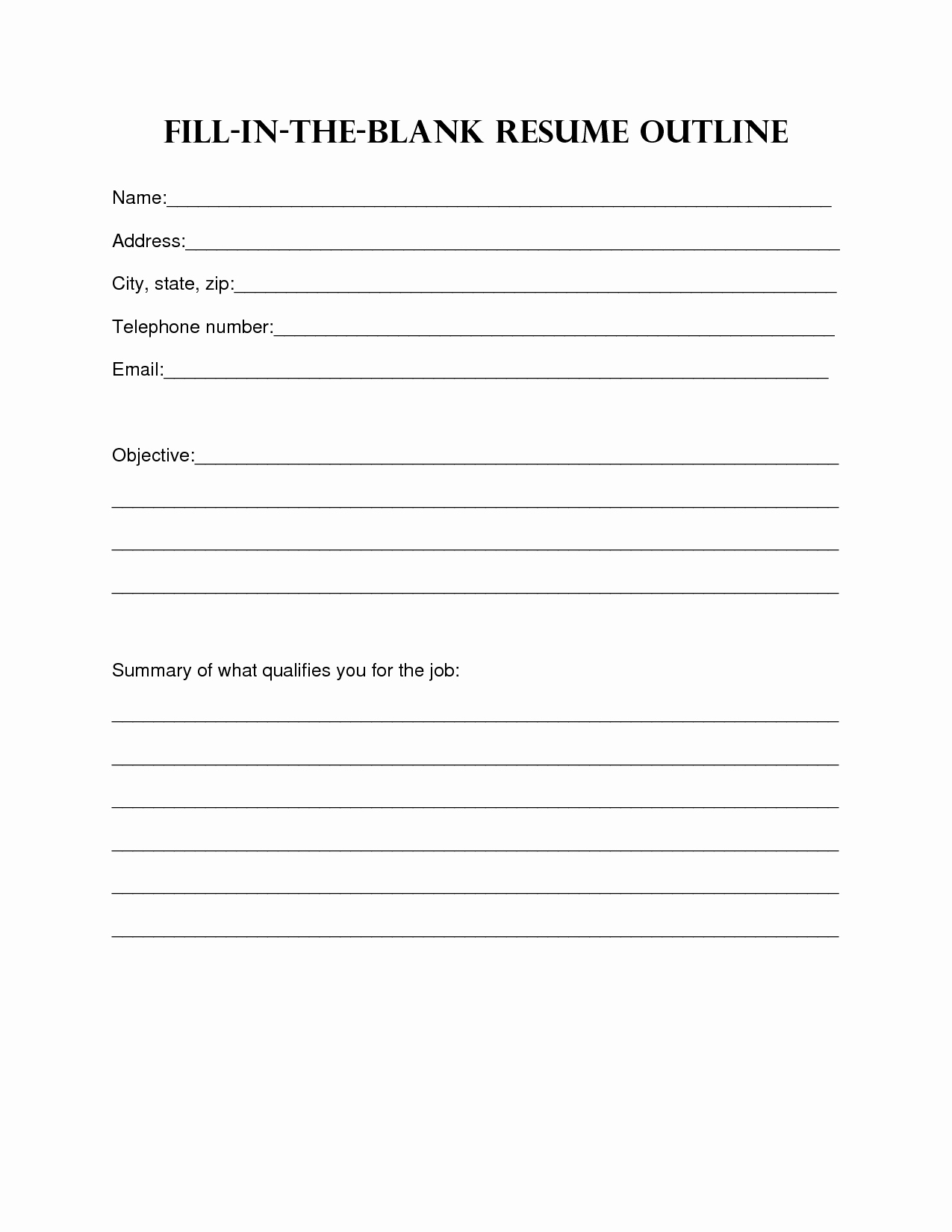 Resume Example Basic Sample Blank form Fill In the Pdf