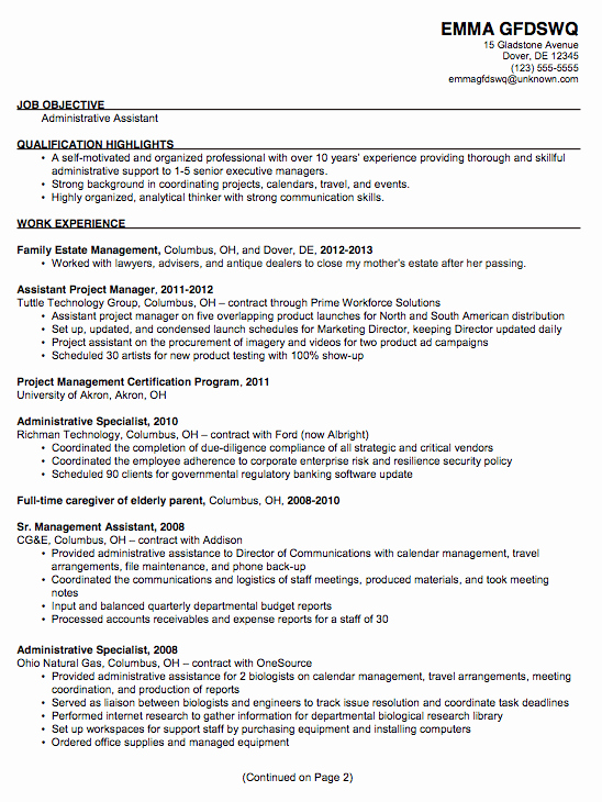 Resume Example for An Administrative assistant Susan