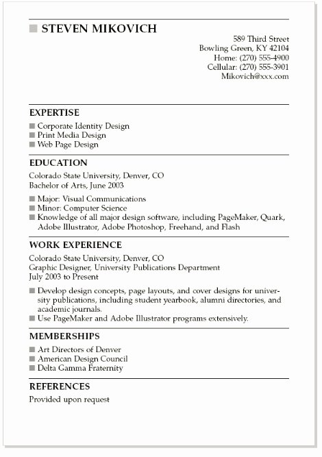 Resume Example for College Students