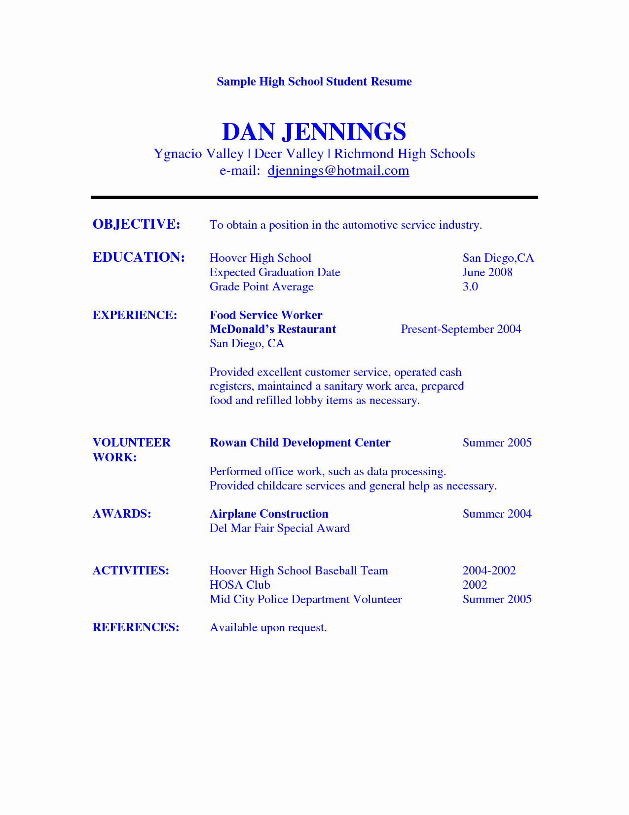 Resume Example for High School Student Sample Resumes