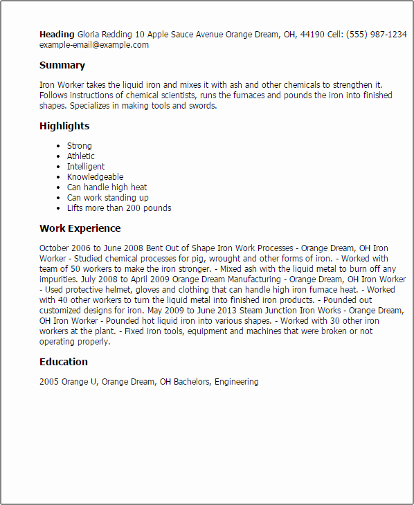 Resume Example for Older Workers