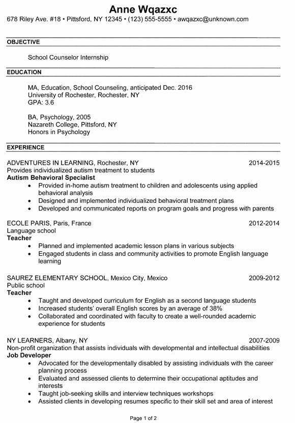 Resume Example School Counselor Internship Susan Ireland