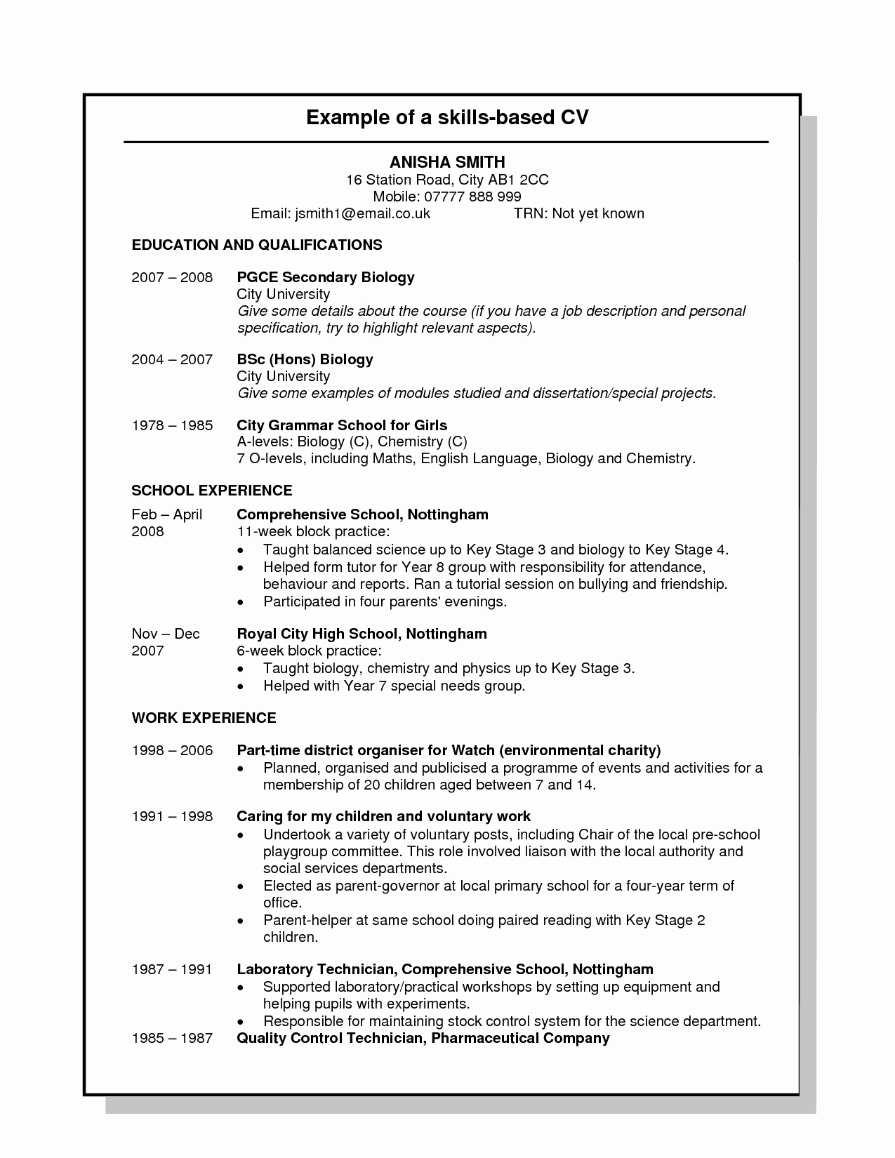 Resume Example Skills and Qualifications