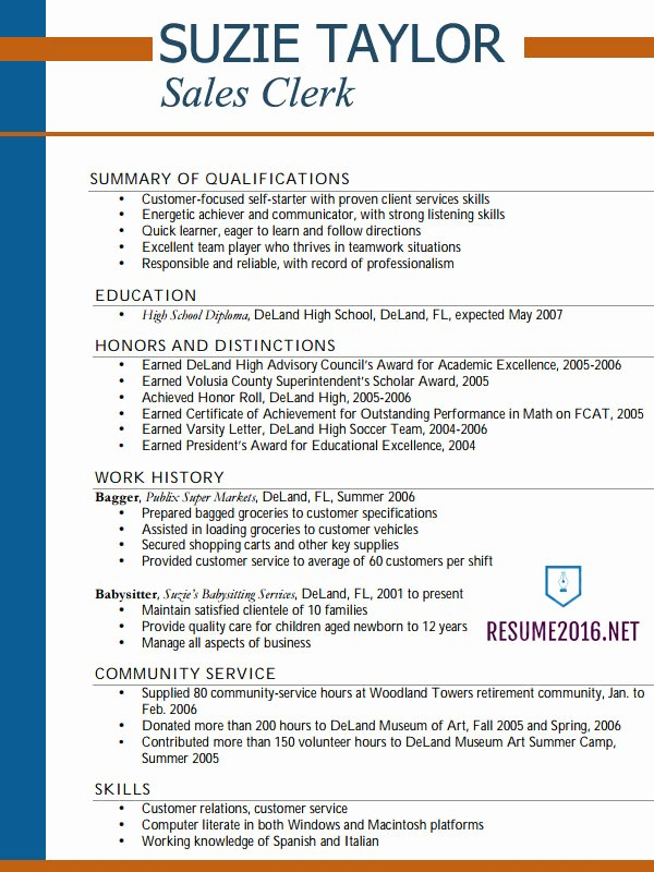 Resume Examples 2016 for Teens Hot Tips to Win