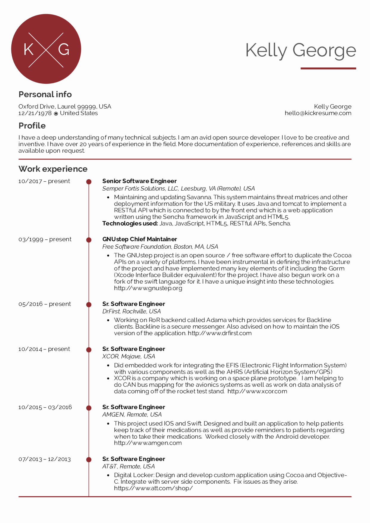 Resume Examples by Real People Senior software Engineer
