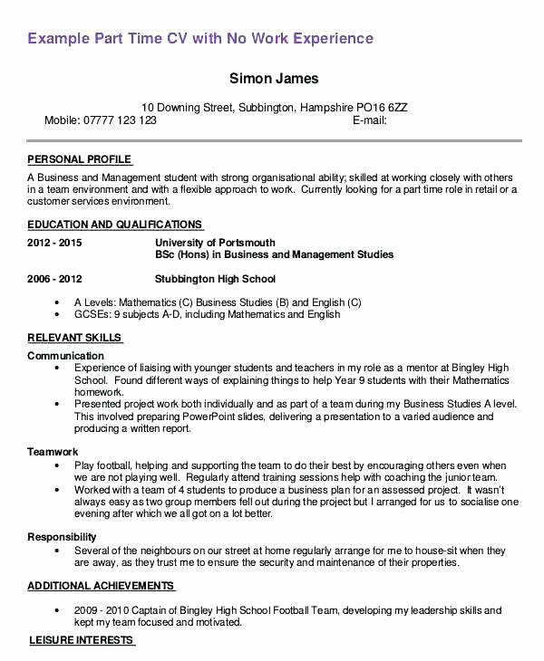 Resume Examples First Job Sample Part Time Objective
