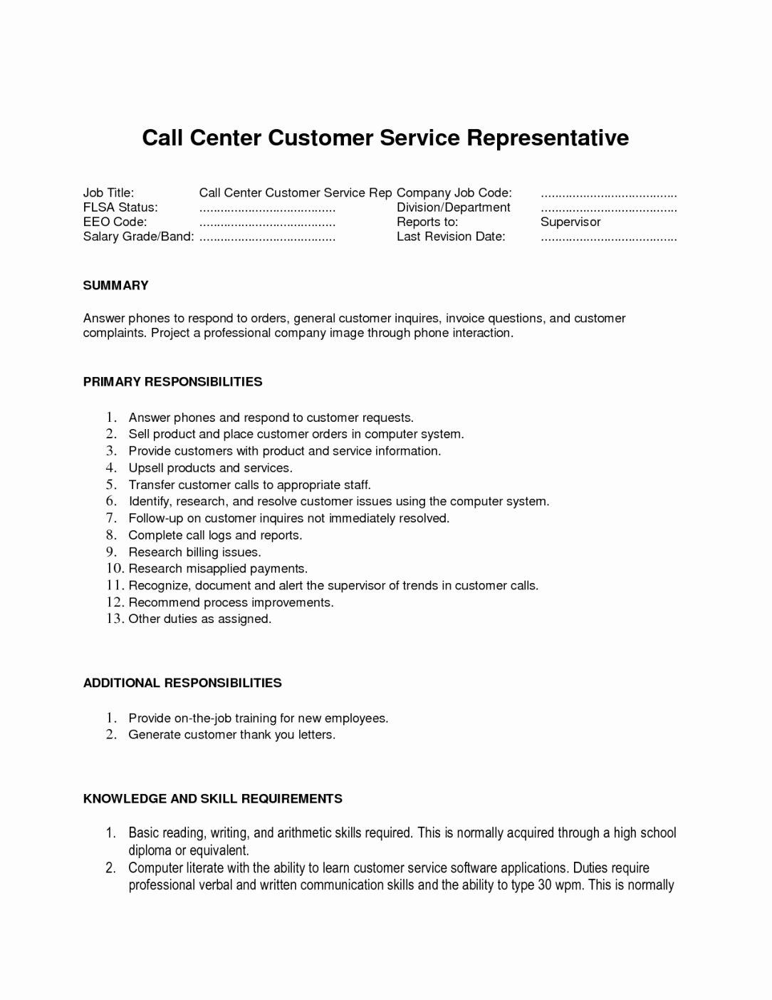Resume Examples for Call Center Customer Service Skills