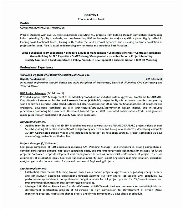 Resume Examples for Construction Project Manager Resume