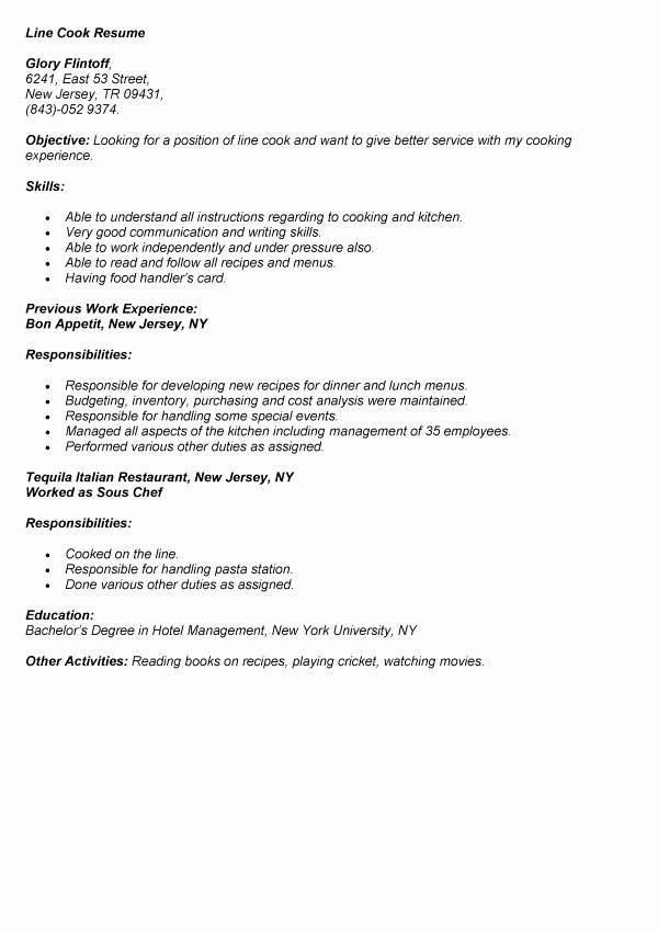 Resume Examples for Cooks Cover Letter Samples Cover