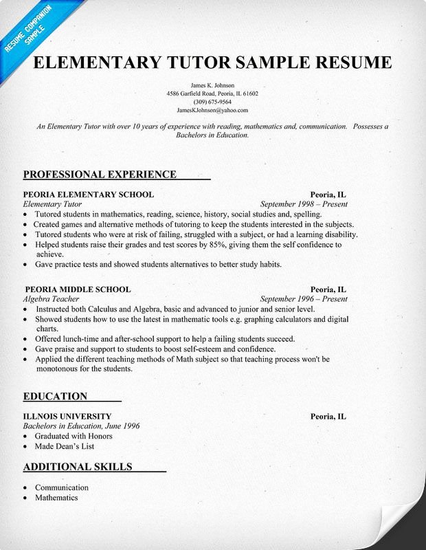 Resume Examples for Elementary Tutor Teacher Teachers