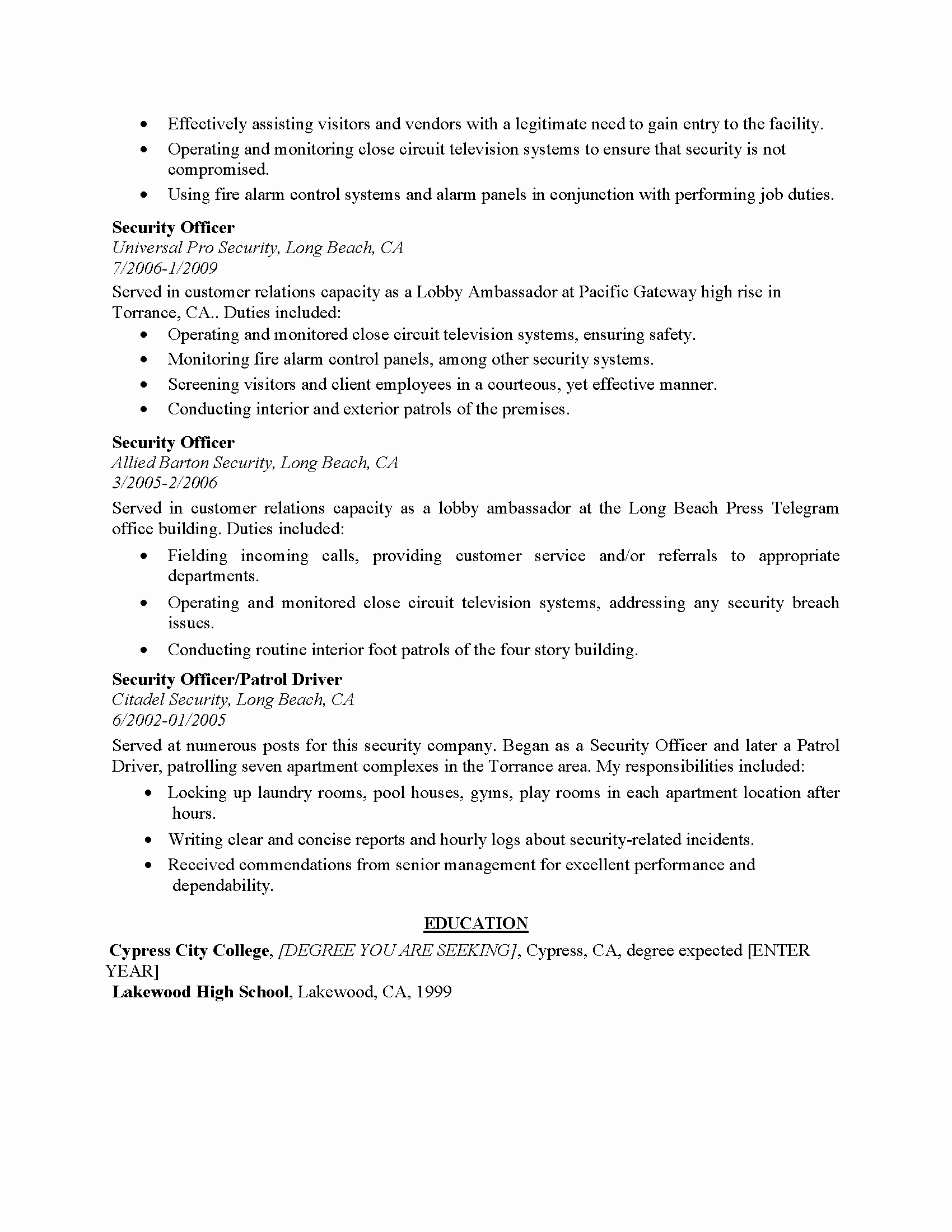 Resume Examples for Entry Level Customer Service