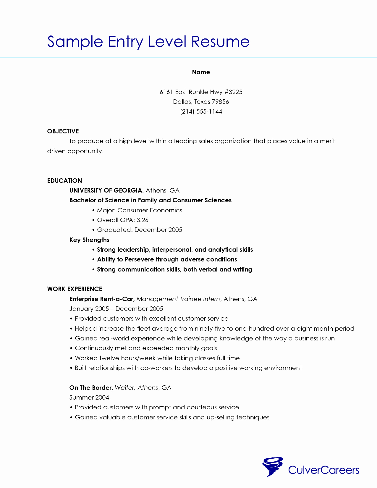 Resume Examples for Entry Level Skills Customer Servic