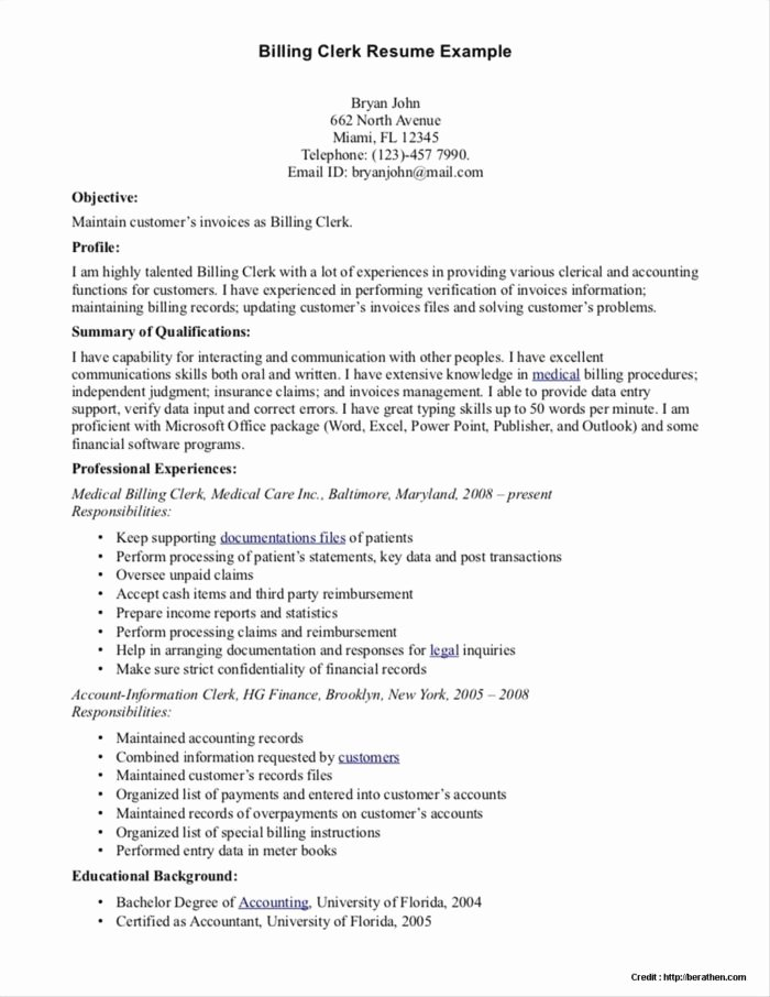 Resume Examples for Medical Billing Specialist Resume