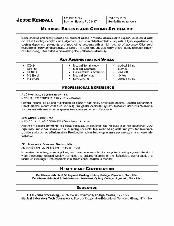 Resume Examples for Medical Coding