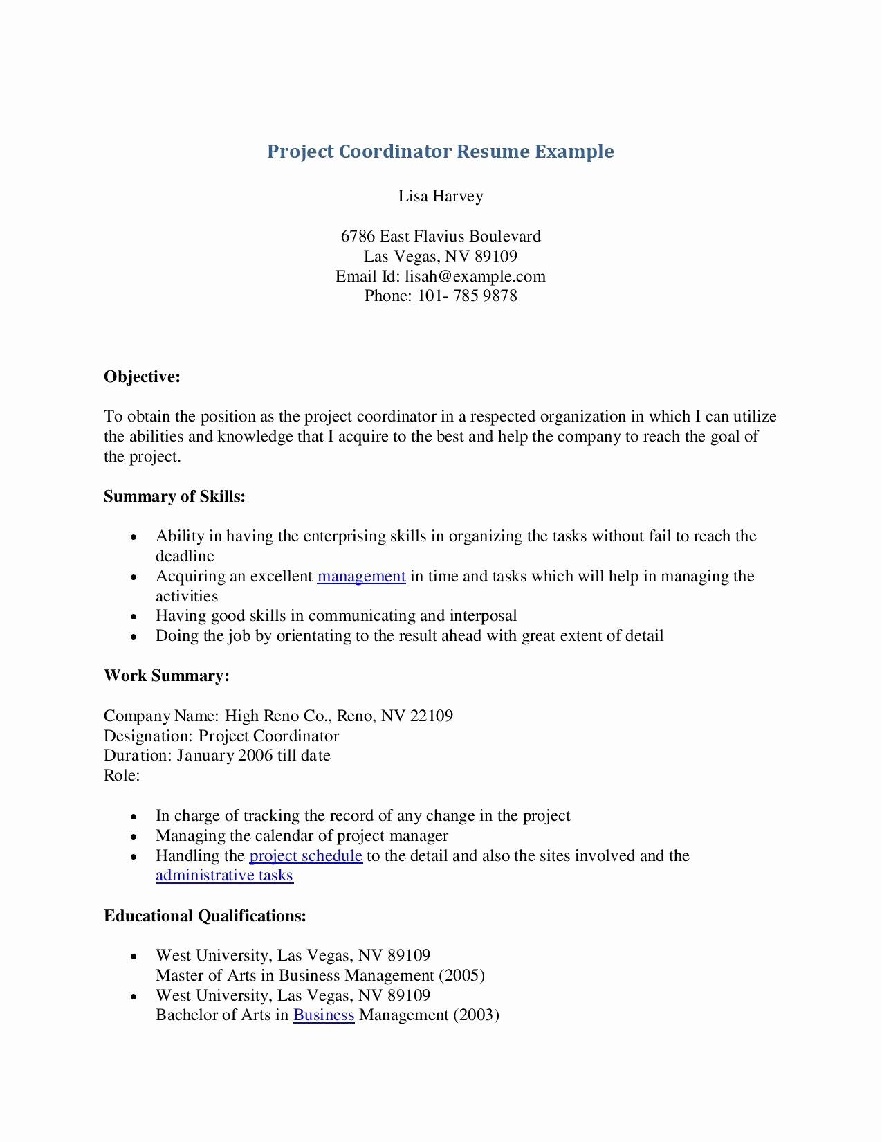 Resume Examples for Project Coordinator Bongdaao